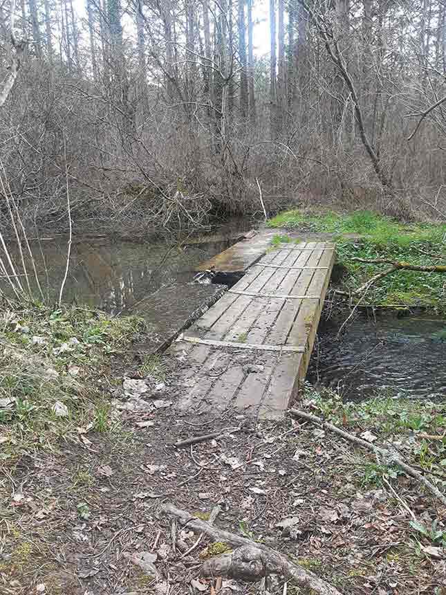 Puente sobre la acequia de la piscifactorías en el Sendero de los Rigales