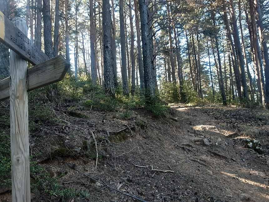 Pendiente moderada en el sendero al Refugio de la Trapa camino Larrosa